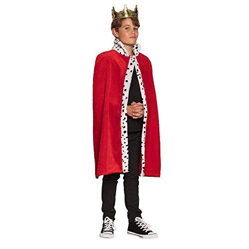 Boland 36100 - Königsmantel für Kinder, rot , Länge 90cm, Pannesamt, weißer Kragen mit weißen Punkten, Karneval, Halloween, Fasching, Mottoparty, Verkleidung, Theater