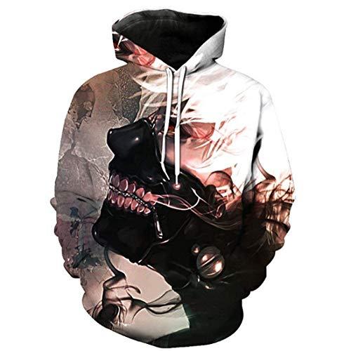 Laisla fashion Herren Tokyo Ghoul 3D Druck Langarm Pullover Unisex Hoodie Classic Herbst Winter Mode Casual Locker Streetwear Kapuzenpullis Sweatshirt Mit Kapuzen Jungs (Color : Farbe 1, Size : L)