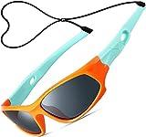 ATTCL Mixte Enfant Sport Lunettes De Soleil Polarisées UV400 Ultra Léger Flexible Cadre 5025 orange green
