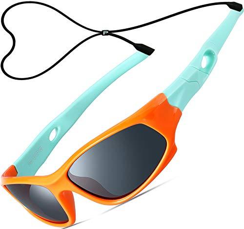 ATTCL Kinder Sonnenbrille TR90 Polarisierte Sportbrille für Jungen und Mädchen 5025 orange-green
