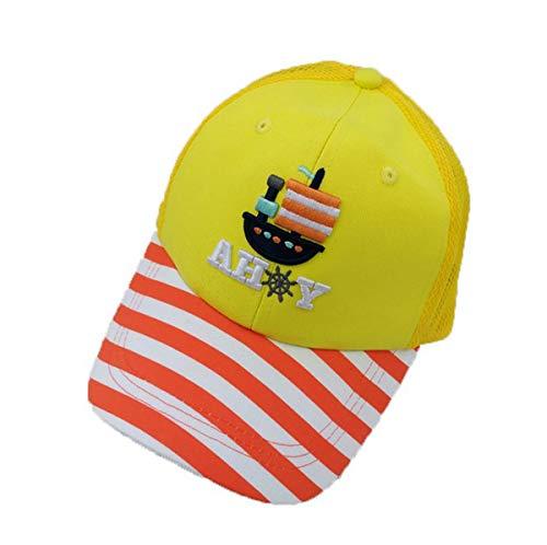 S+S Ss Kinder Baseballkappe Baumwolle Streifen Hut Mesh atmungsaktiv, gelb