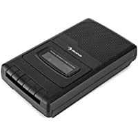 auna RQ-132 Black Edition - Grabadora de Casete portátil, Altavoz Integrado, Reproductor y Grabador de Cintas, Dispositivo de Dictado por micrófono, Asa de Transporte, Pilas o Corriente, Negro