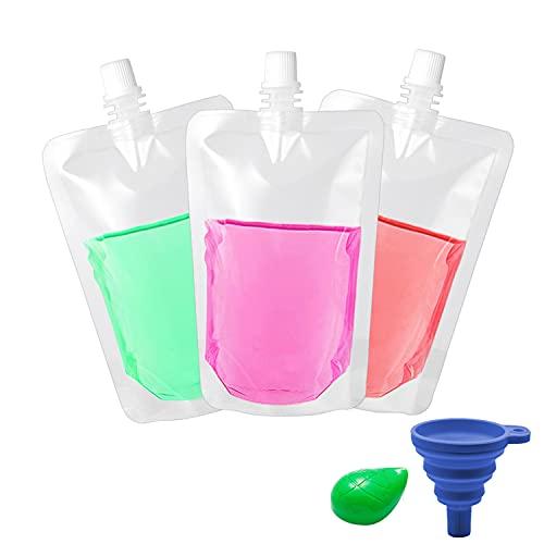 30 bolsas de bebidas transparentes de 300 ml para bebidas de pie, bolsa de bebidas de plástico portátil, bolsa de bebidas para licor, licor, ron, agua