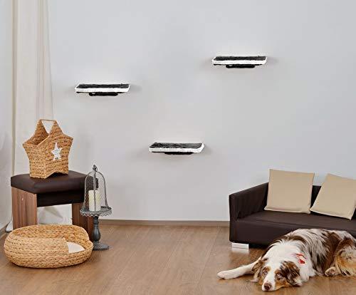 animal-design Katzen Kletterwand 3-teilig Wall Katzenmöbel platzsparende stabile Katzentreppe für die Wand aus Plüsch grau weiß, Farbe:grau