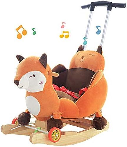 Kind aus Holz Rocker Baby fürt auf Schaukelpferd Spielzeug für Kinder 2 in 1 Plüsch Fox mit R rn und Musik