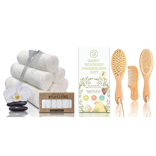 Baby Hair Brush Set and Organic Bamboo Washcloths Bundle - Baby Grooming Care Bath Essentials for Newborn, Babies and Toddlers - Best for Delicate Skin, Cradle Cap, Face Towels