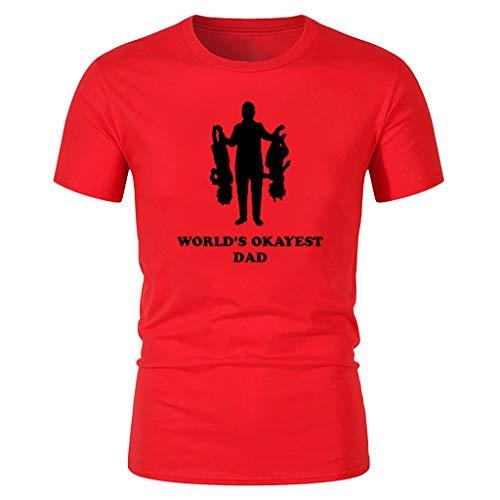 Herren T-Shirt für das Geschenk des Vaters, Happy Father's Day Print T-Shirts Kurzarm-Bluse(D-rot,XX-Large)