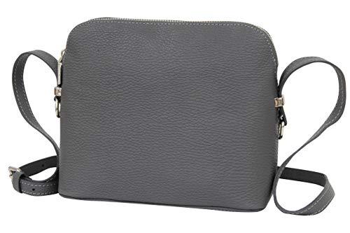 AMBRA Moda Italienische Ledertasche Damen Handtasche Umhängetasche Schultertasche Leder Tasche klein GL018 (Anthrazit Grau)