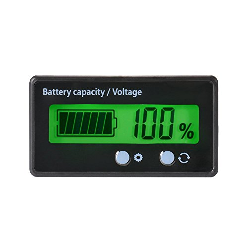 LCD Battery Capacity Monitor Gauge MeterWaterproof 12V/24V/36V/48V Lead Acid Battery Status IndicatorLithium Battery Capacity Tester Voltage Meter Monitor Green Backlight for Vehicle Battery