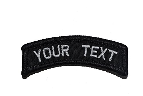 Customizable Text Tab Patch w/Hook Fastener Patch - Black