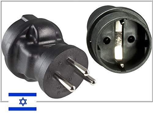DINIC Reisestecker, Stromadapter für Israel, 3-Pin Reiseadapter (1 Stück, schwarz)