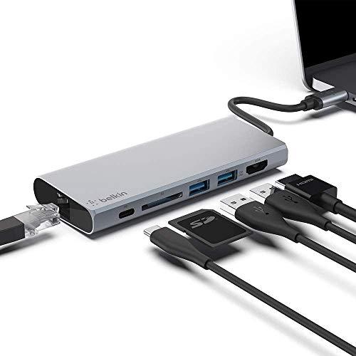 Belkin ハブ ドッキングステーション LAN/USB-C 60W / 4K HDMI 出力/SDカード/USB-A PD対応 iPad Pro MacBo...