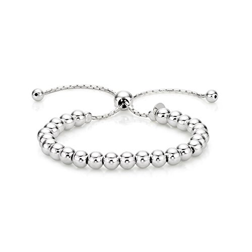 Diamond Treats Ladies Silver Bracelet, 925 STERLING SILVER Fashionable Italian Design Ball Bracelet. This Fully Adjustable Size Ladies Bracelet is the Perfect Jewellery Gift for Women.