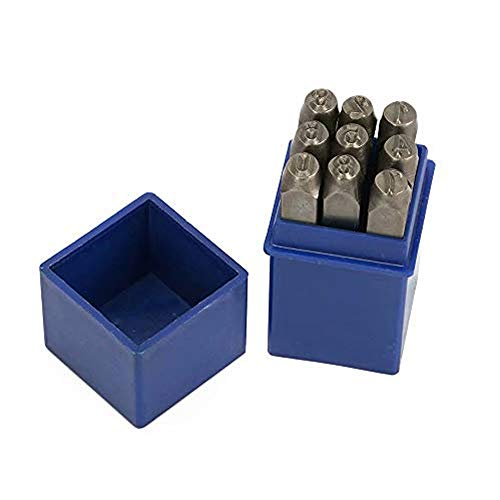 1/4' 6mm High Hardness Carbon Uppercase Number Metal Stamp Steel Reverse Punch Set DIY Tool for Mold Metal Wood and Leather 9Pcs(0-9)