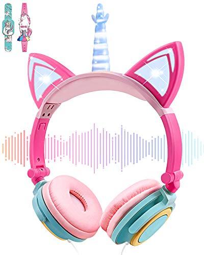 Einhorn-Kinder-Kopfhörer für Mädchen und Jungen – Katzenohr-LED-Kopfhörer, Leuchtend, kabelgebunden, verstellbar, faltbar, On-Ear-Kopfhörer für Spiele, Reisen, Headset, Schule, Geburtstag (Blau)