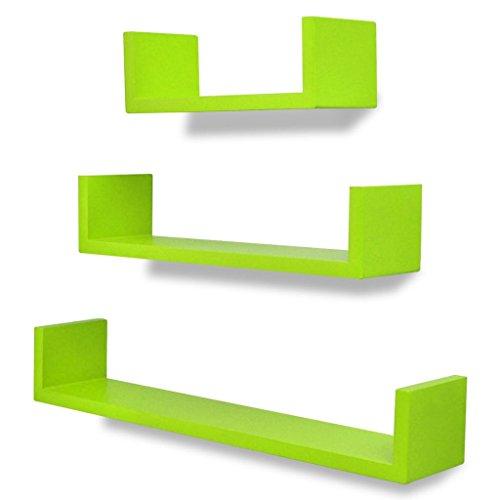 vidaXL 3 estanterías Verdes en Forma de U de Material MDF suspendidas para Libros/DVD