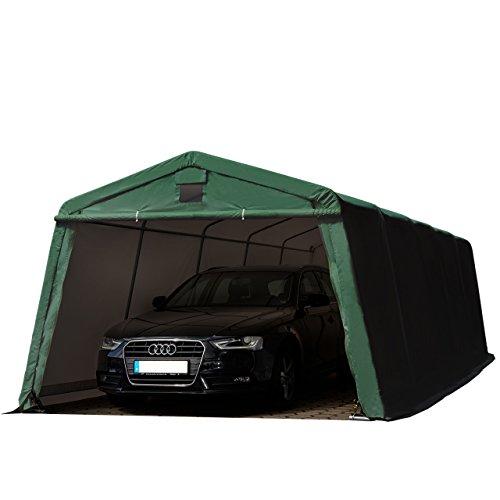 Zeltgarage 3,66x7,7 m Weidezelt PREMIUM Carport mit 500 g/m2 PVC Plane in dunkelgrün Unterstand Lagerzelt Garage aus 100% Stahl