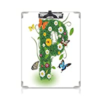 クリップボード A4 Pの文字 学用品A4 バインダー かわいい活気のある春のフレッシュネスガーデンテーマ夏の紅葉アゲハの羽 A4 タテ型 クリップファイル ワードパッド ファイルバインダー 携帯便利緑の多色