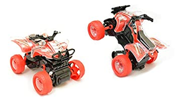 Battery Operated Car with Bump and Go Action – Battery Operated Car Toy for Kids – Bump and Go Toy Truck with Light and Sounds – Battery Operated Wheelie Action Toy Truck  Red Quad Bike
