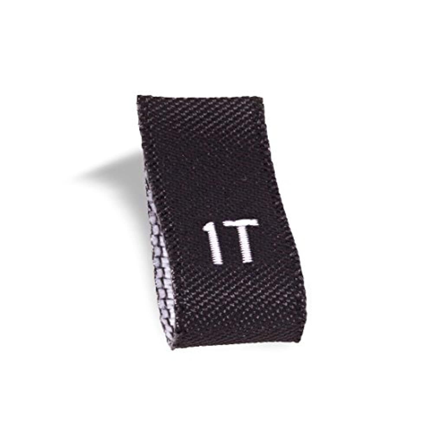 Wunderlabel Kid Size Label Woven Crafting Craft Art Fashion Ribbon Ribbons Tag for Clothing Sewing Sew on Clothes Garment Fabric Material Embroidered Label Labels Tags, White on Black, 1T, 25 Labels