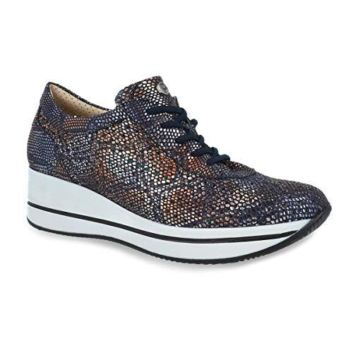 Zapato Mujer Tipo Deportivo Marca PITILLOS, en Piel picada Azul Marino, Plantilla Extraible, Suela Ligera de Poliuretano - 5630-923