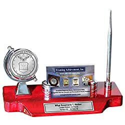 Military Desk Clock Company Logo Business Card Holder Pen Set USMC USAF Air Force Army Marine Corps Gift Engraved US Navy Retirement Homeland Security