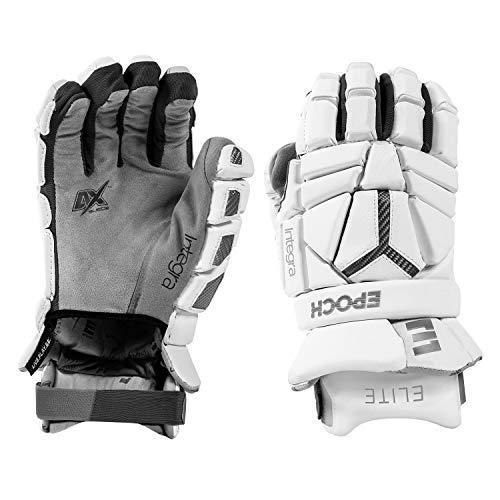 "Epoch Integra Elite Lacrosse Gloves with Tri-Layer Dual-Densty Foam and Adjustable Wrist, 12"", Medium, White"