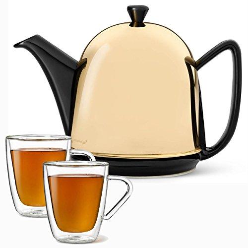 Bredemeijer Teekanne Set Edelstahl Messing schwarz 1,0 Liter und 2 doppelwandige Teegläser