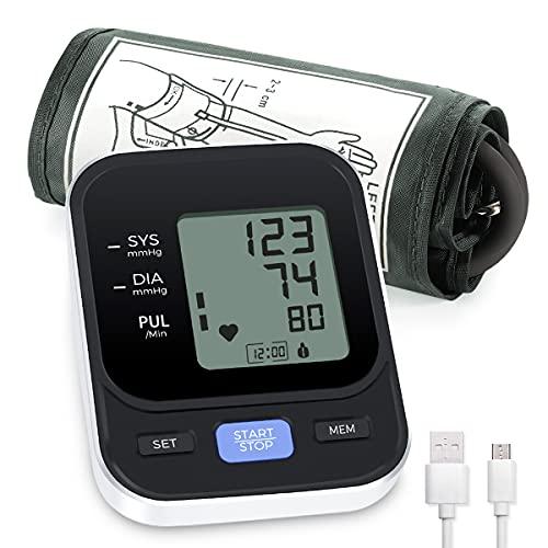Blutdruckmessgeräte Oberarm Vollautomatische Digitales Blutdruckmessgerät und Pulsmesser-Detektor, Mit Arrhythmie-Erkennung, 22-42 cm Große Manschette, 2x90 Dual-User, Ein-Knopf-Bedienung