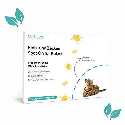 vetevo SPOT ON für Katzen (Älter als 8 Monate) - Frei von Insektiziden. Exzellenter & zuverlässiger Schutz gegen Zecken & Flöhe. 3 Pipetten zum Auftragen auf das Fell. Wirkdauer jeweils 6 Wochen.