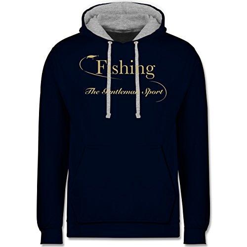 Angeln - Fishing - The Gentleman Sport - XL - Navy Blau/Grau meliert - angelrolle blau - JH003 - Hoodie zweifarbig und Kapuzenpullover für Herren und Damen