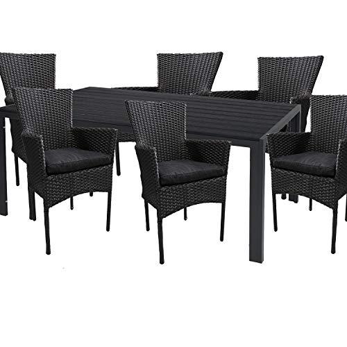 Mojawo hoogwaardige tuinset 7-delig tuintafel 150x90cm antraciet aluminium/polywood zwart + 6 rotan stoelen zwart