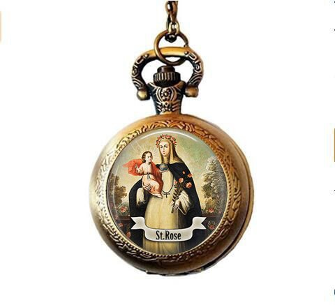 qws Saint Rose of Lima Pocket Watch Necklace - Catholic Saint Jewelry - St Rose - Religious Jewelry - Saint Rose Charm - Catholic Faith Gift