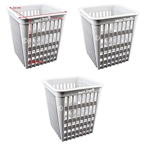 Marel Shop - Kit 3 cestelli contenitori portaposate 113 x 113 x 130 mm per lavastoviglie uso domestico ed uso industriale compatibile con vari marchi