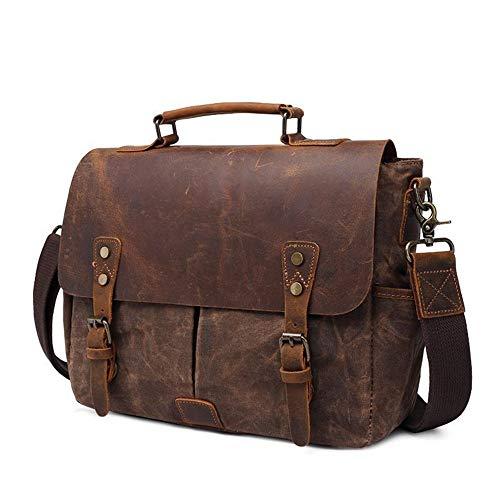 ChengBeautiful Camera Backpack Retro Oil Wax Portable Canvas Bag Men SLR Camera Bag Shoulder Bag Men's Shoulder Bag Brown (Color : Brown, Size : 35x11.5x27cm)
