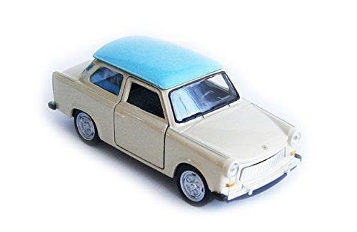 TRABANT 601 Modellauto 11,5cm Trabi Modell Auto Spielzeugauto 4-Varianten 14 (Creme-Blau)