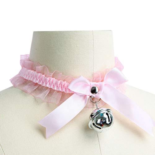 FENICAL collar de gargantilla con collar de lazo de campana cosplay de lolita kitty para niña