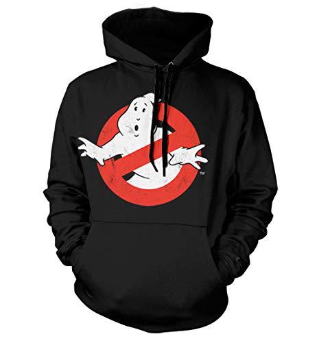 Ghostbusters Distressed Logo Hoodie (Noir), Large