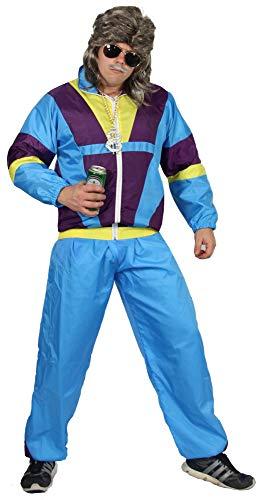 Foxxeo 80er Jahre Kostüm für Erwachsene Premium 80s Trainingsanzug Assianzug Assi - Herren Größe S-XXXXL - Fasching Karneval Anzug, Farbe blau-lila-gelb, Größe: XL