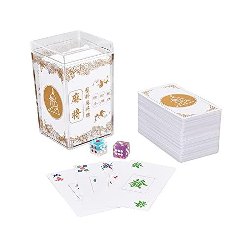 Naipes Chinos de Mahjong - Baraja de 150 Cartas para Juegos Tradicionales, con Dados de Colores Aleatorios y Caja de Almacenamiento,Blanco