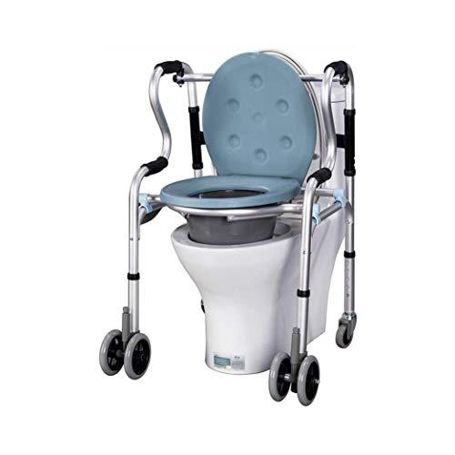JJZXPJ Nachttisch Toilettenstuhl für Erwachsene, höhenverstellbar, mit Rollen, Toilettensitz