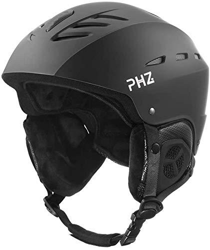PHZ Skihelm Snowboardhelm Unisex Erwachsene CE EN 1077 Schwarz Weiß M/L 55-61 (Schwarz, M)