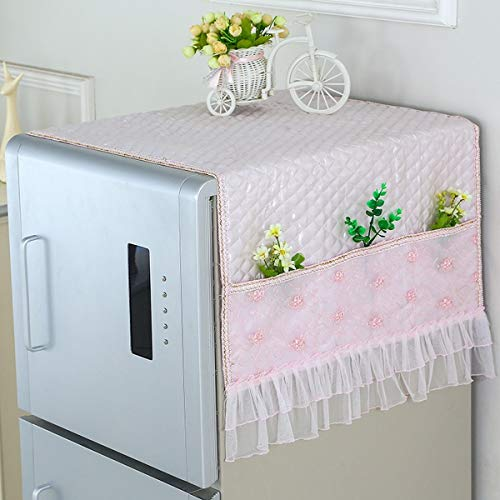 Anti-Slip Washer And Dryer Top Covers Fridge Dust Cover Lace Cotton Washing Machine Top Cover With 6 Storage Bags (Pink,27x66 Inch)