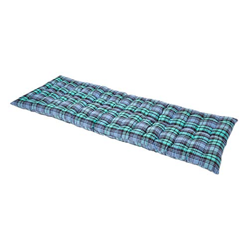 "HOMESCAPES Green Tartan Garden Bench Cushion 3 Seater Seat Pad for Patio Furniture Kitchen or Dining Bench Indoor & Outdoor Use Comfortable 100% Cotton ""Blackwatch"" Style Thick Cushion 143 cm Wide"