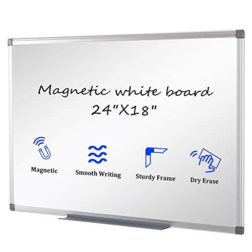 SwanSea Whiteboard Tableros magnéticos Dry Wipe Borrar Tablón de anuncios de oficina con bandeja de pluma y marco de aluminio 60x45cm (An x Al)