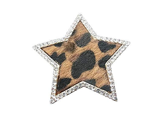 Brooch, magnetic brooch, scarf clip, clothing, poncho, bags, pin, textile jewellery, star fur, leopard print rhinestones.