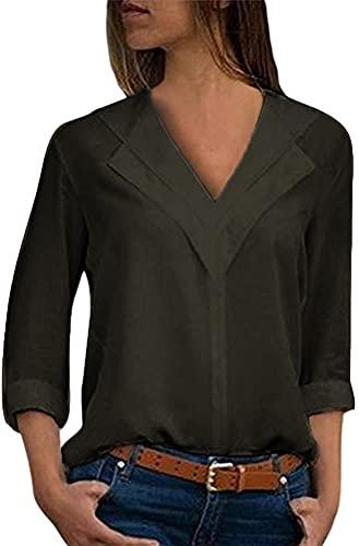 ORANDESIGNE Donna Camicetta Blusa Chiffon Elegante Camicia con Scollo V Cerniera Manica Regolabile Maglietta Top Grigio IT 38