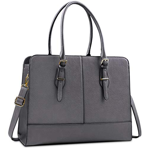 Lubardy Laptop Bags for Women 15.6 inch Ladies Leather Laptop Handbag Work Handbags Womens Tote Bag Office Grey