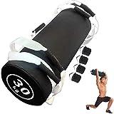 YZBBSH Sacco di Sabbia Peso Boxe Allenamento Power Bag Regolabile Fitness Sandbag con 6Maniglie per Allenamento Funzionale, Fitness, Sollevamento Pesi, Forza e Resistenza Weighted Bag,White 30kg