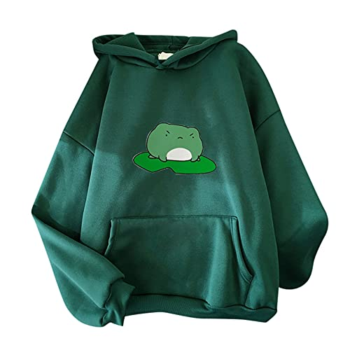 GANBADIE Hoodie - Sudadera con capucha de manga larga de terciopelo a la moda Stitching Cute, manga larga, sudadera, ejército verde, XL
